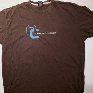 Vintage NAUTICA COMPETITION T-SHIRT BROWN